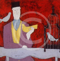 man with bird cage (red)
