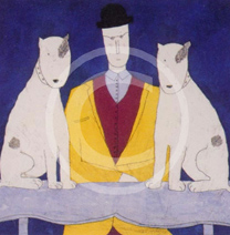 lady with two dogs (blue)